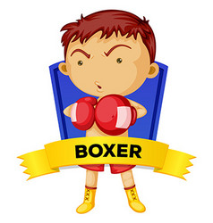 Label design with man boxing vector image