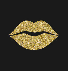 lip icon with glitter effect isolated on black vector image