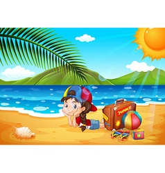 Little girl having fun at the beach vector image