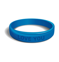 love you blue plastic wristband vector image