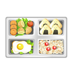 Lunch box of japanese bento meals sushi rolls vector