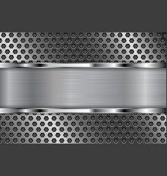 metal perforated background with shiny chrome vector image