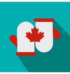 Mittens with a maple leaf icon flat style vector image