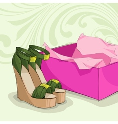 Modern womans green sandals vector image vector image