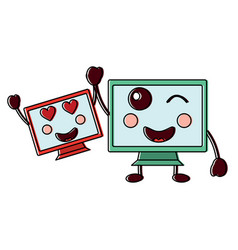 Pc monitor hardware pair kawaii cartoon vector