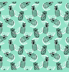 Pineapples seamless pattern on mint background vector