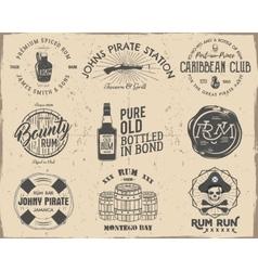 Set of vintage handcrafted pirates emblems labels vector image vector image