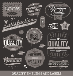 Signs emblems and labels of quality and guaranteed vector