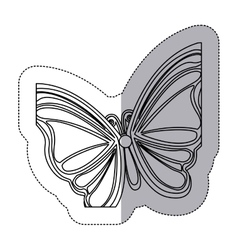 Sticker silhouette with a butterfly vector