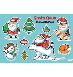 Stickers collection with cartoon santa claus vector
