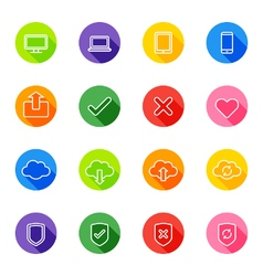 white line web icon set on colorful circle vector image vector image