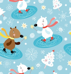 winter texture of white bears vector image vector image