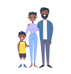 Young couple with son hand drawn black woman man vector