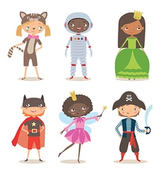 Kids of different nation in costumes for party or vector