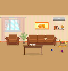 Living room interior in orange colors including vector