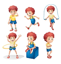 Different activities of a young man vector image