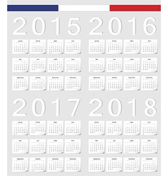 Set of french 2015 2016 2017 2018 calendars vector