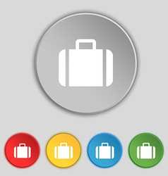 Suitcase icon sign symbol on five flat buttons vector
