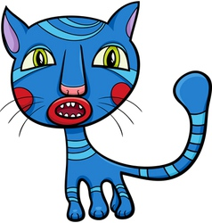 Blue kitten or cat cartoon vector