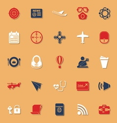 Air transport related classic color icons with vector