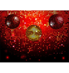 Disco balls over red sparkling tiles wall vector image