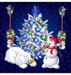 Postcard snowman and sleeping polar bear vector