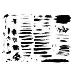 Set of ink hand drawn brush strokes vector