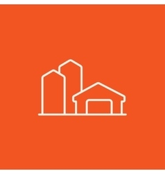 Farm buildings line icon vector