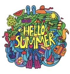 Summer items in cartoon style with hello summer vector