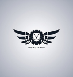 Lion theme androsphinx sign vector