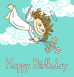 Card for birthday with cupid vector