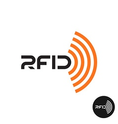 Rfid tag icon text logo with radio wireless waves vector