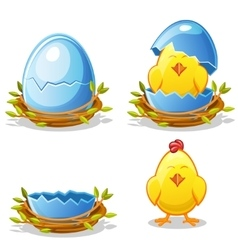 Cartoon chicken and blue egg in a nest vector