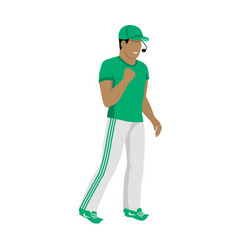Cartoon icon of referee in green and white uniform vector