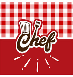 Chef logo with red wallpaper vector