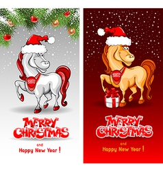 Christmas card with funny horse vector image vector image