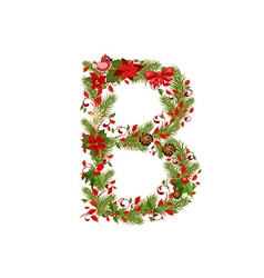 Christmas floral tree letter b vector
