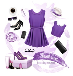 Collage of fashion female accessories vector image