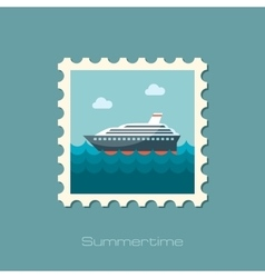 Cruise transatlantic liner ship flat stamp vector