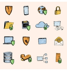 Data protection sketch icons colored vector image