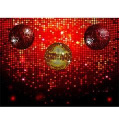 Disco balls over red sparkling tiles wall vector image