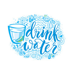 Drink more water hand drawn typography poster t vector