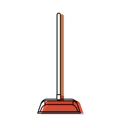 Dustpan with wooden stick in colorful watercolor vector
