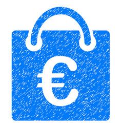 Euro shopping bag grunge icon vector