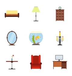 Furniture icons set flat style vector image vector image