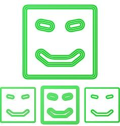 Green line happy logo design set vector