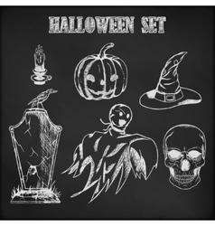 Halloween hand drawn set vector