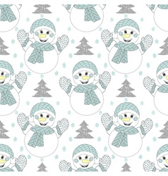 Happy snowman seamless pattern hand drawn modern vector