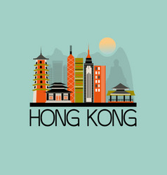 hong kong travel background vector image