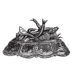Inkstandornamented vintage engraving vector